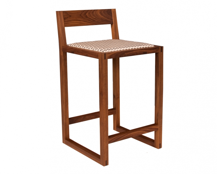 Celilo Stool in Eastern Walnut with Motivation Prussian Fabric, Counter Height