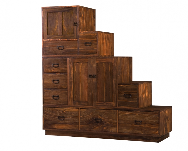 Tansu in Western Walnut with Tansu Pulls, Left Aligned