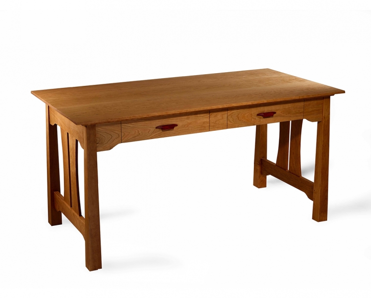 Pacific Writing Desk in Cherry with Rosewood Yoshinaga Pulls
