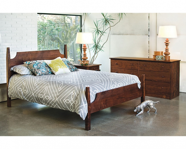Arts and Crafts Bed in Western Walnut with Joinery Dresser