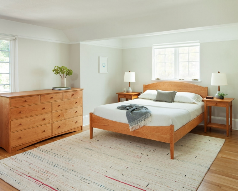 Classic Shaker Bed in Cherry with Joinery 9-Drawer Dresser and Shaker Nightstand