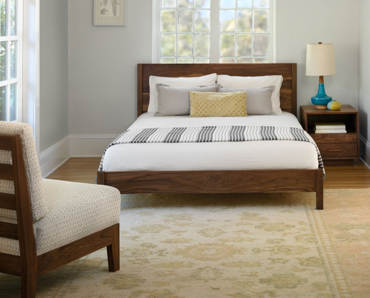 Modern Simple Bed in Eastern Walnut with Modern Nightstand and Slipper Chair