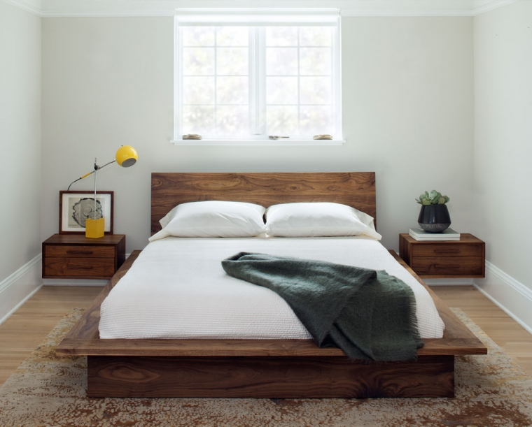 Nehalem Solid Wood Platform Bed in Eastern Walnut with Wall Hung Nightstands