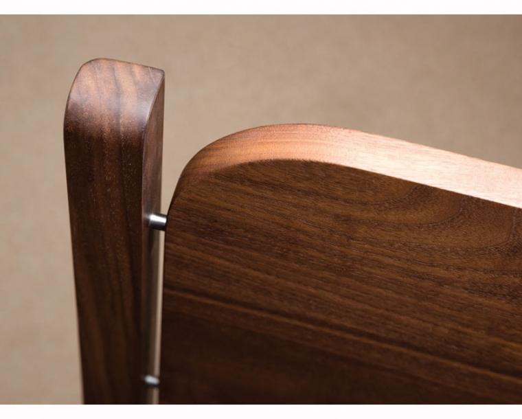 Whitman headboard detail in Eastern Walnut with Silver Pins