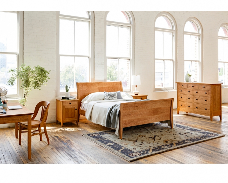 Contemporary Sleigh Bed in Cherry with Dunning Dresser and Nightstands