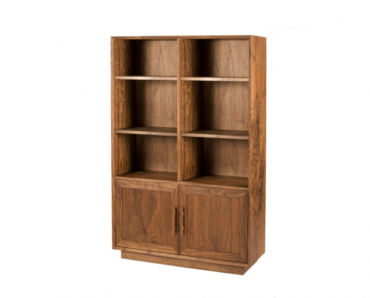 Modern Avocat Bookcase in Eastern Walnut with Mission Pulls