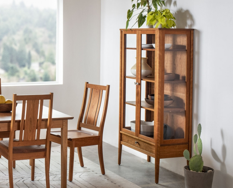 Whitman Curio in Cherry with Kenton side chairs and Shaker dining table