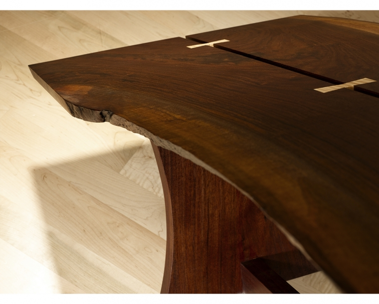 Live Edge Butterfly Coffee Table Detail in Western Walnut with Curly Maple