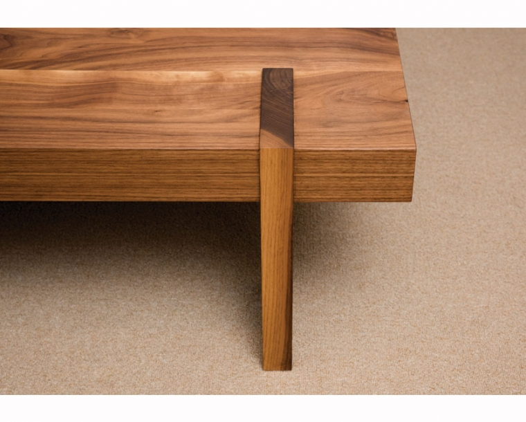 Arcadia coffee table detail in Eastern Walnut