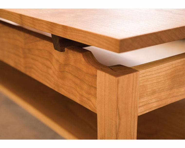 Hochberg Coffee Table with shelf detail in Cherry with Western Walnut