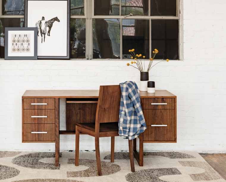 Cantilever Desk in Eastern Walnut with Steel Mission Pulls