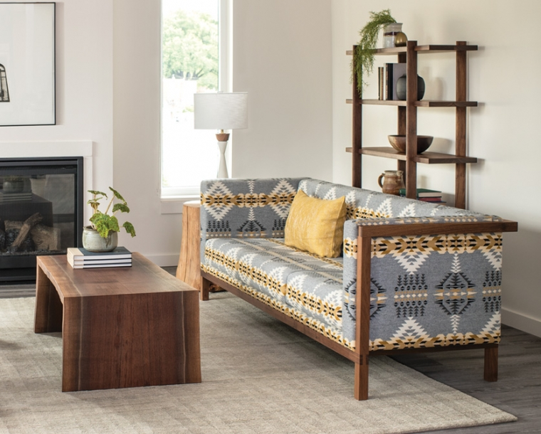 Celilo Sofa in Eastern Walnut in Pendleton wool with Miter Wrap Live-edge coffee table.