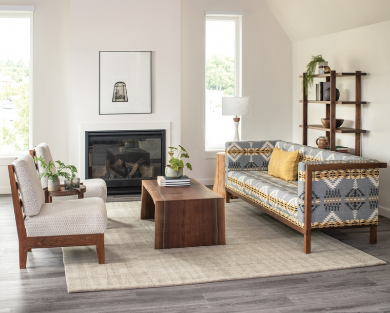 Slipper Chair in Eastern Walnut with Celilo Sofa and Live Edge miter wrap coffee table
