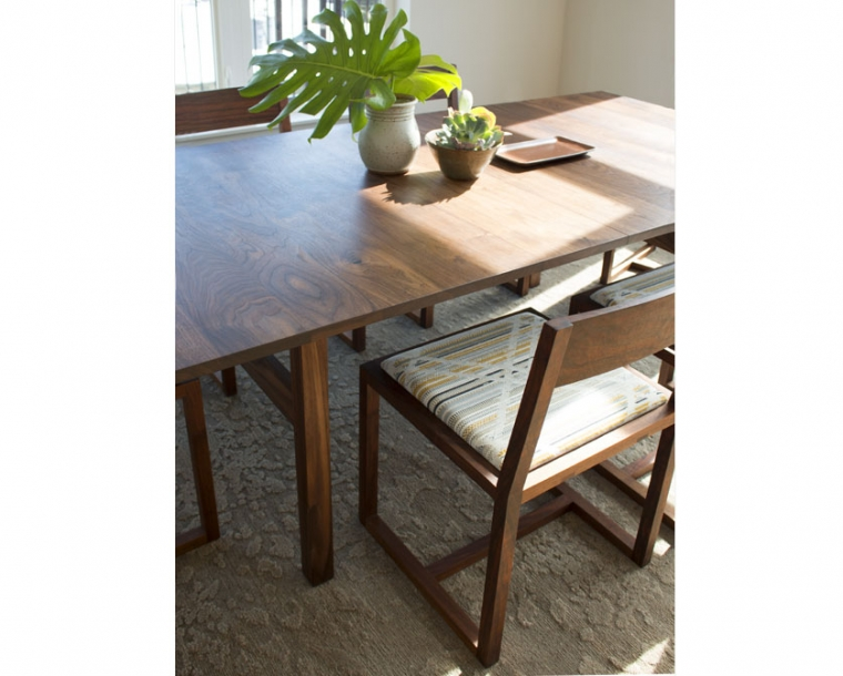 Celilo Dining Chairs in Eastern Walnut with COM Fabric with Celilo Dining Table