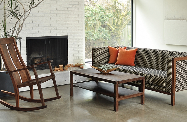 Celilo Sofa in Eastern Walnut with Celilo Coffee Table & Leon Rocker