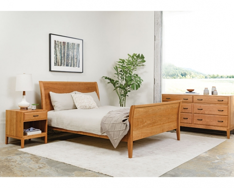 Corbett nighstand in Cherry with oil rubbbed bronze pull featured with Contemporary Sleigh Bed and Corbett Low 6-Drawer Dresser