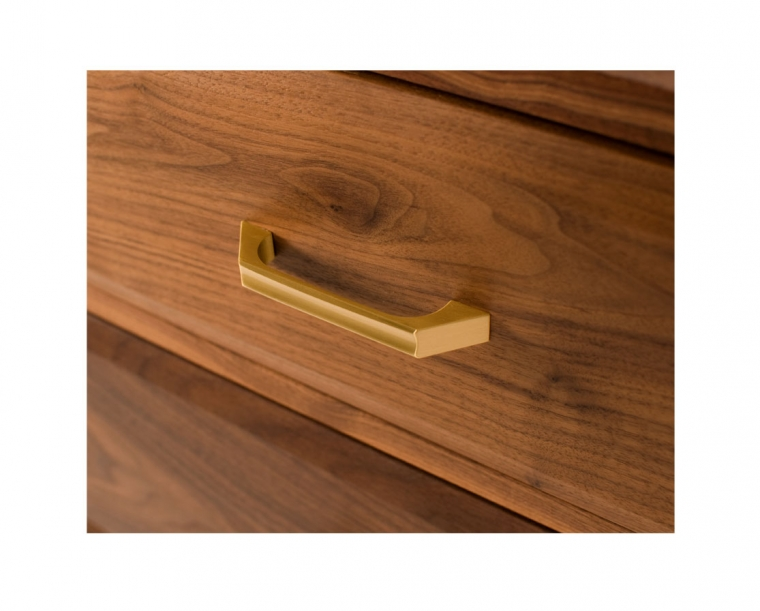 Corbett pull detail in satin brass