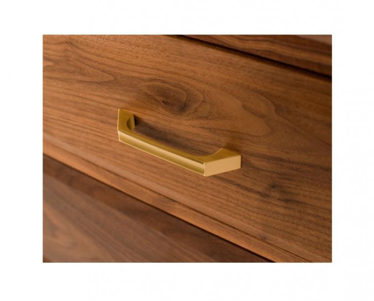 Corbett pull detail in satin brass
