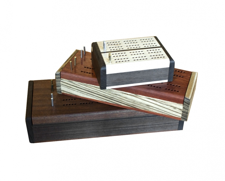 Handcrafted cribbage boards in all three sizes
