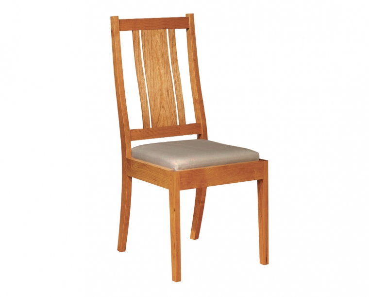 Kenton side chair with upholstered seat in Cherry