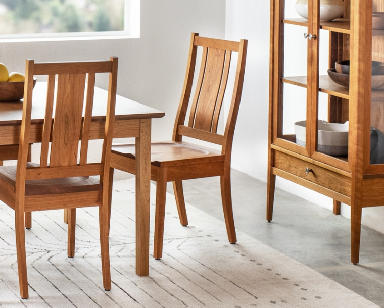 Kenton sidechair with wood seat in Cherry