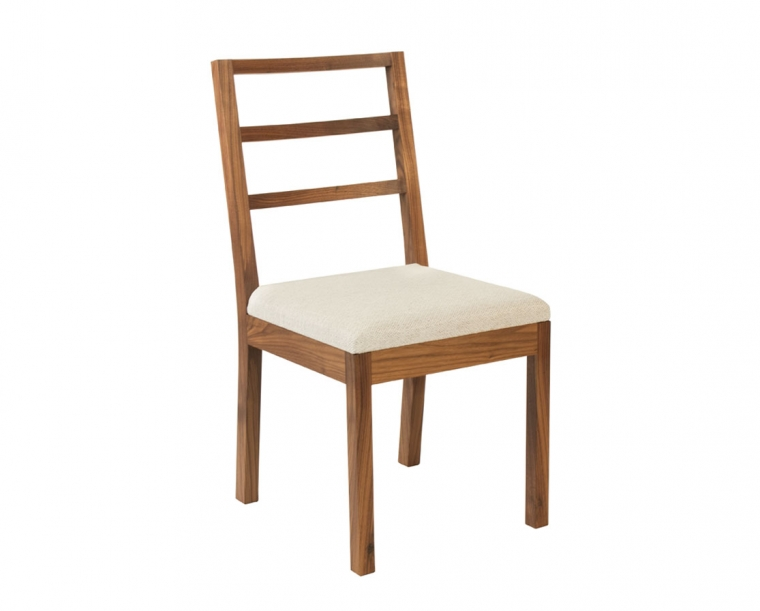 Hayden Dining Chair in Eastern Walnut with Twill Weave Platinum Fabric