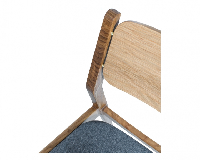 Detail of Whitman Chair in White Oak with Brass Pins
