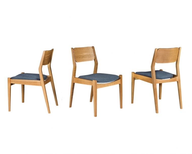 Whitman Chair with upholstered seat in White Oak