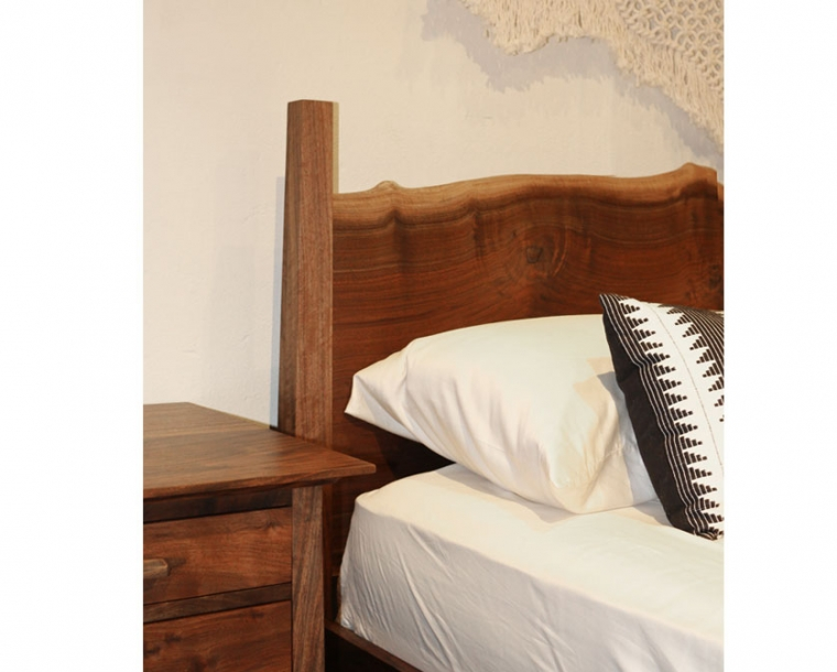 Live Edge Bed Detail with Pacific Nightstand
