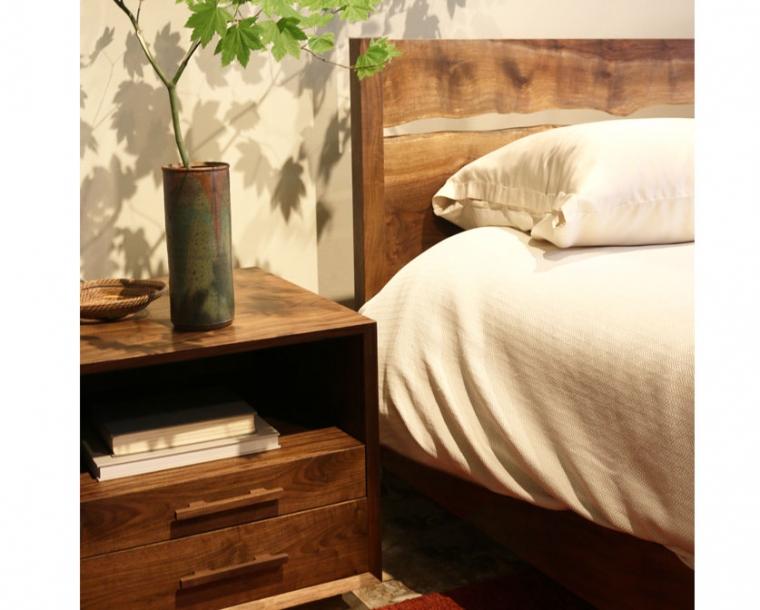 Modern Simple Platform Bed in Western Walnut with Live Edge Split
