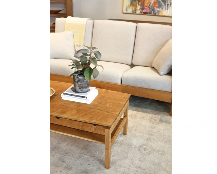 Hochberg Coffee Table in Cherry with Western Walnut risers with Pacific Couch