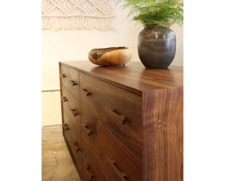 Modern Low 6-Drawer Dresser in Eastern Walnut with Walnut Mission Pulls