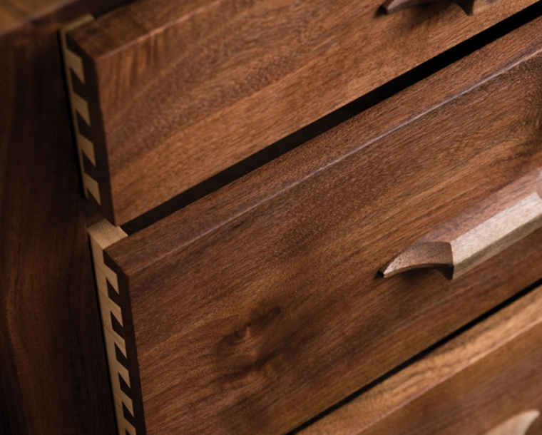 Drawer Front detail of Pacific Dresser in Western Walnut