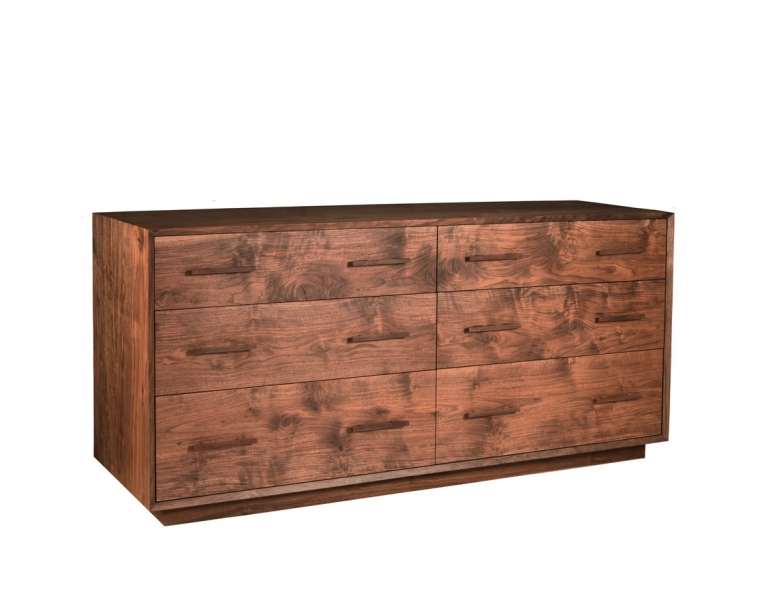 Modern Low 6-Drawer Dresser in Western Walnut with Walnut Mission Pulls