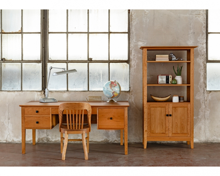 Ironside Desk in Cherry with Banjo Chair and Avocat Bookcase