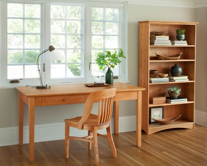 Shaker Writing Desk in Cherry with a Banjo Chair and 60 x 30 Bookcase