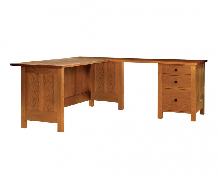 Doug L Desk in Cherry shown with return on right.