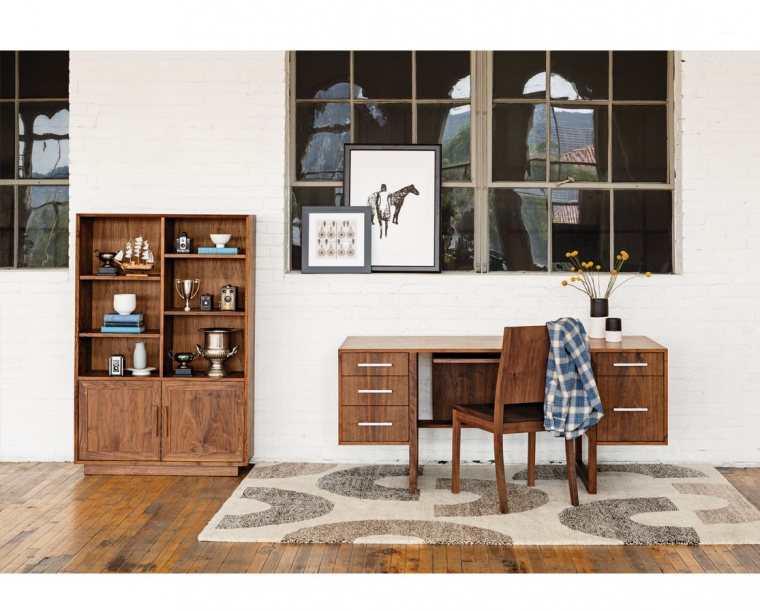 Modern Avocat Bookcase in Eastern Walnut, Cantilever Desk and Studio Chair