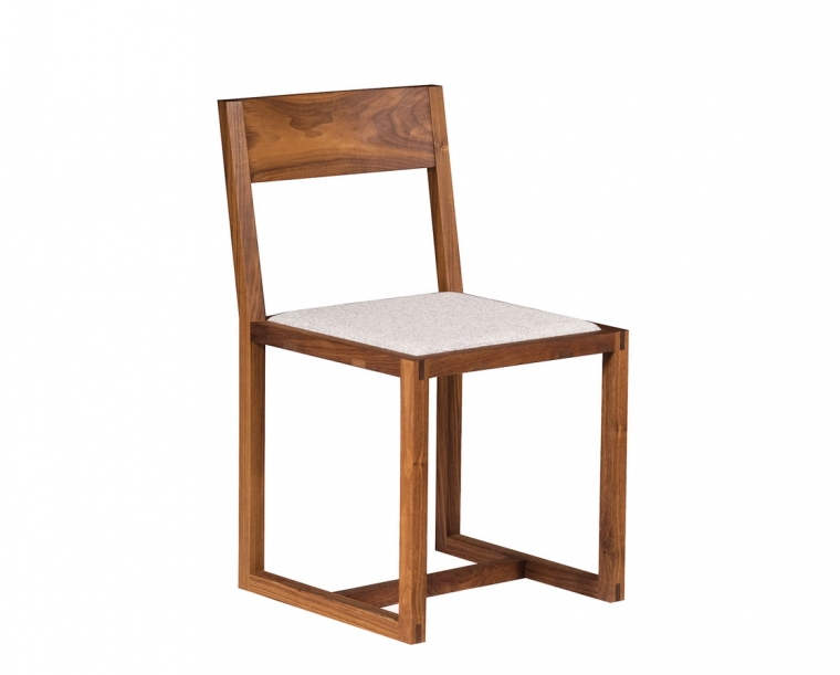 Eastern Walnut Celilo Dining Chairs in EcoWool Sterling