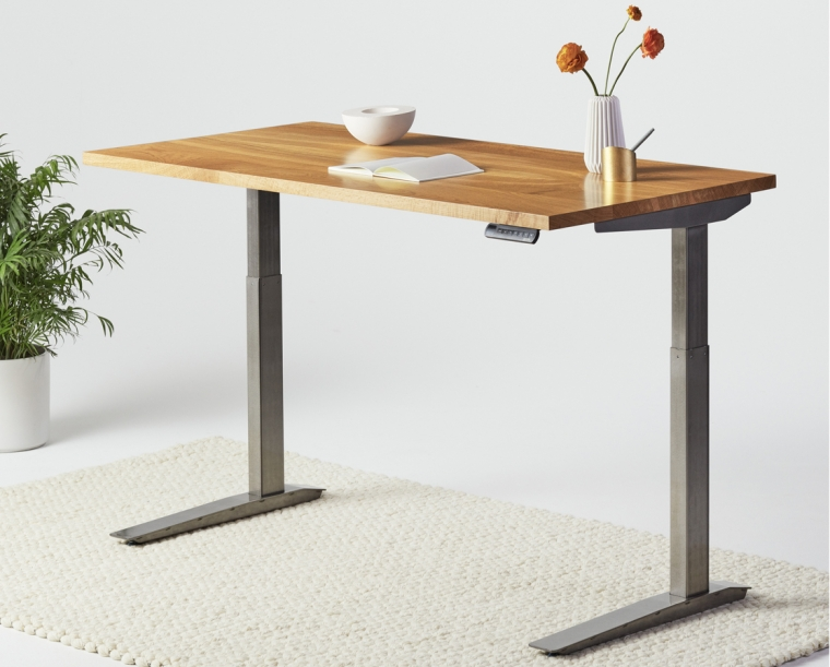 Jarvis sit/stand desk in Oregon White Oak with Alloy base