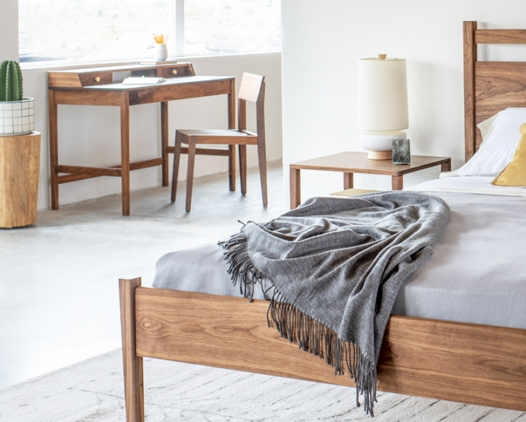 Klamath chair in Eastern Walnut with the Maud desk and Maud bedroom set