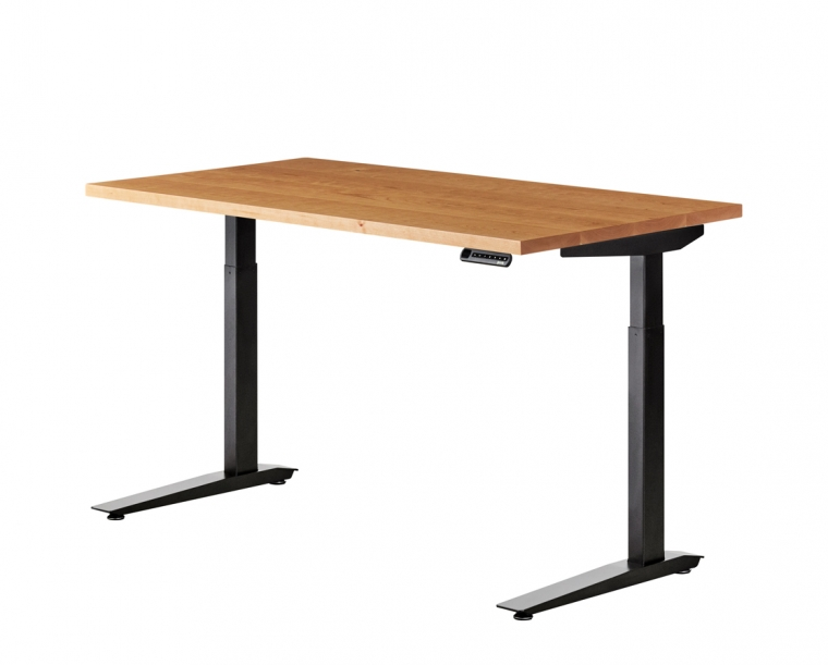 Jarvis standing desk in Cherry with Black base