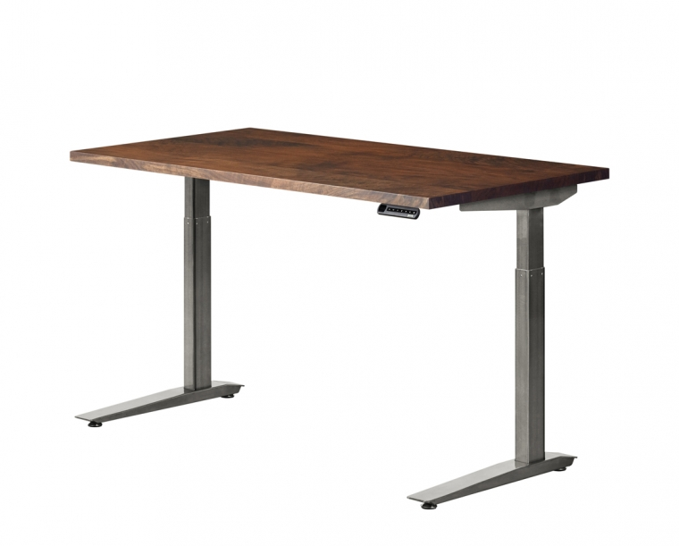 Jarvis standing desk in Western Walnut with Alloy base