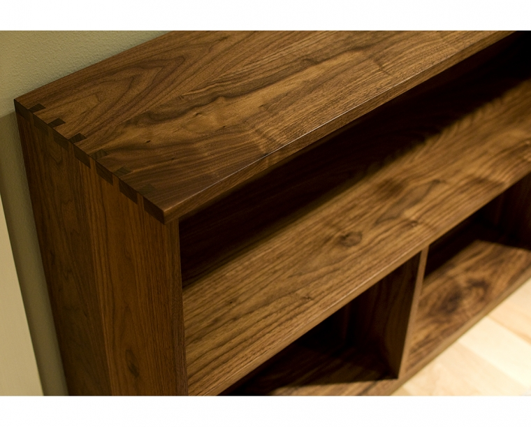 Tansu Bookcase Top Detail in Eastern Walnut