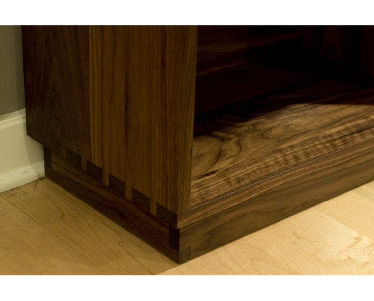 Tansu Bookcase Bottom Detail in Eastern Walnut