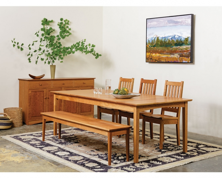 Shaker Dining Table With Arts And Crafts Chairs And Shaker Bench In Cherry