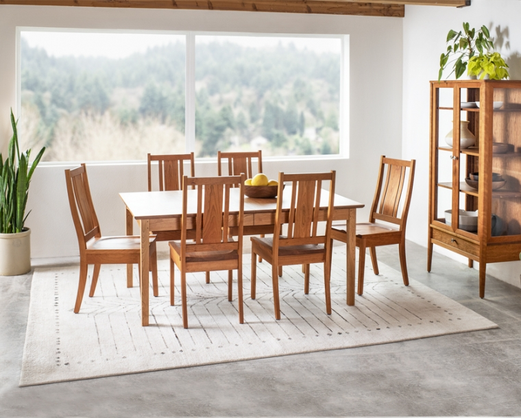 Kenton dining chairs with wood seat in Cherry with Shaker dining table and Whitman Curio