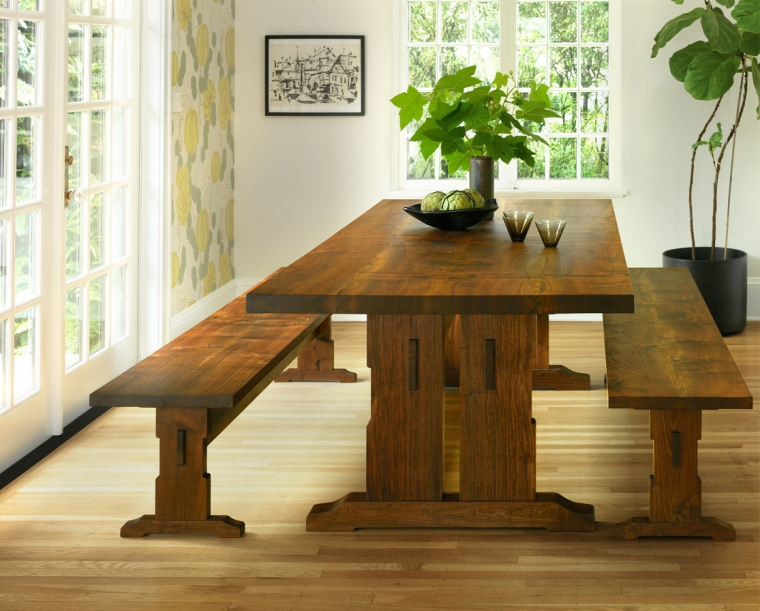 Beal Dining Table in Western Walnut with Beal Benches