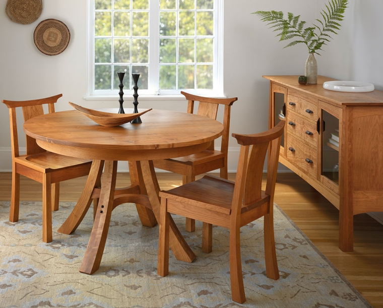 "48"" Kyoto Dining Table in Cherry with Kyoto Chairs and Alexander Sideboard"