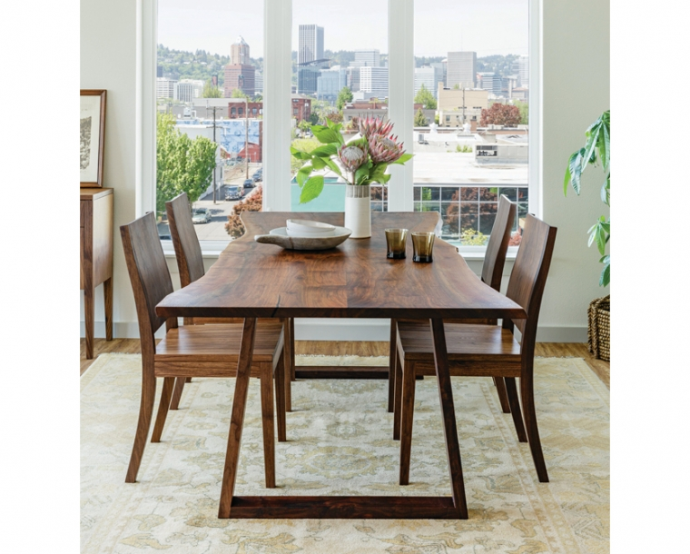 Wilkes Live-Edge Dining Table in Western Walnut with Studio Dining Chairs